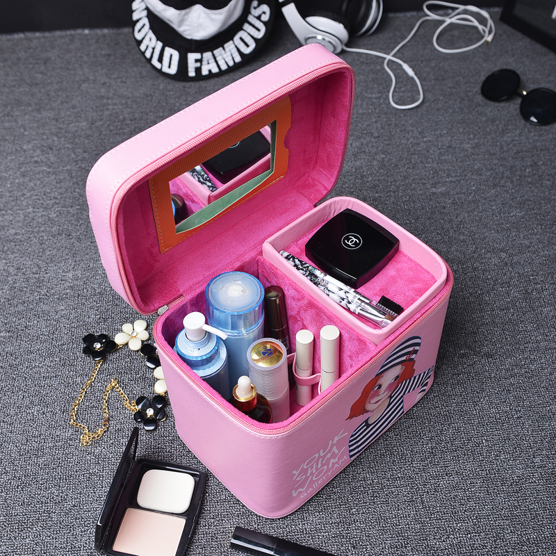 Fashion Women Makeup Case Bag Travel Beauty Box Portable Make Up Organizer With Mirror Pouch Case Professional Cosmetic Storage patriot max power srge 6500