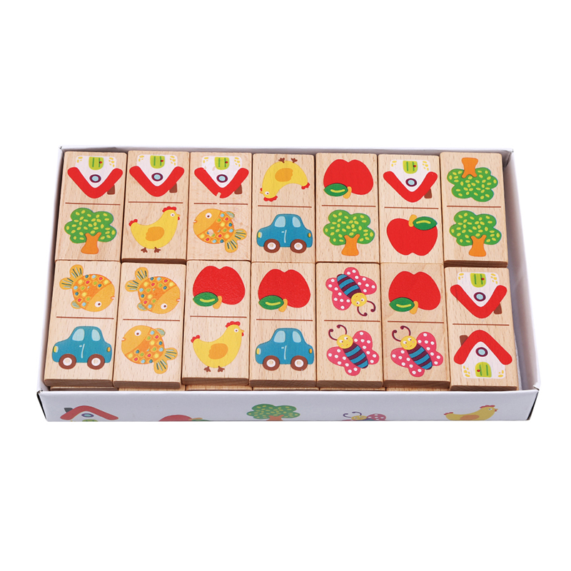 New Style Wooden Cartoon Fruit Animal Recognize Blocks Dominoes Jigsaw Montessori Children Learning   Education Puzzle Toy