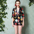 High-End 2 Piece Set Women Shorts and Top 2015 Summer Runway Novelty Mushroom 3D Printed Blazer Shorts Suits for Women 4093