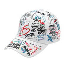 Winfox Black White Womens Mens Korea Graffiti Letter Print Baseball Caps Dad Hats