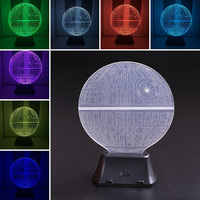 Star Wars Death Star 3D LED Night Light Touch Switch Table Desk Lamp Room Decor Colorful