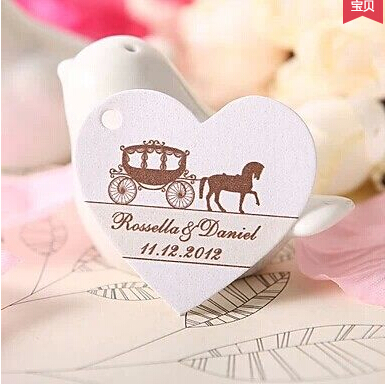 100pcs lot Personalized Tags Hang On The Wedding Birthday Candy Box Can Printed Bride Groom s