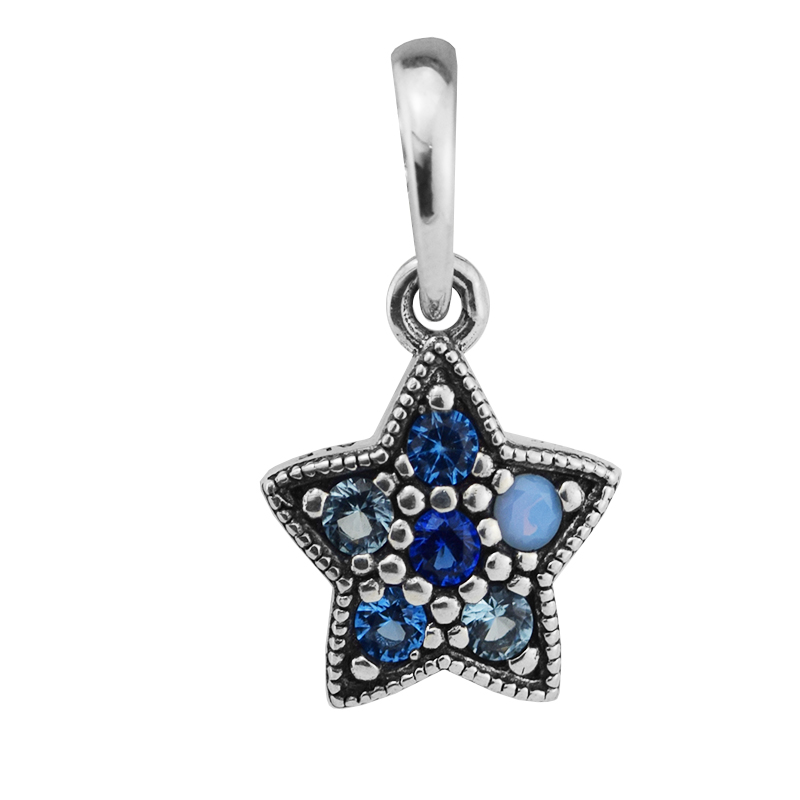 Authentic 925 Sterling Silver Bright Star Necklace Pendants With Multi-Colored Crystals Fit Necklaces DIY Fine Jewelry YL643