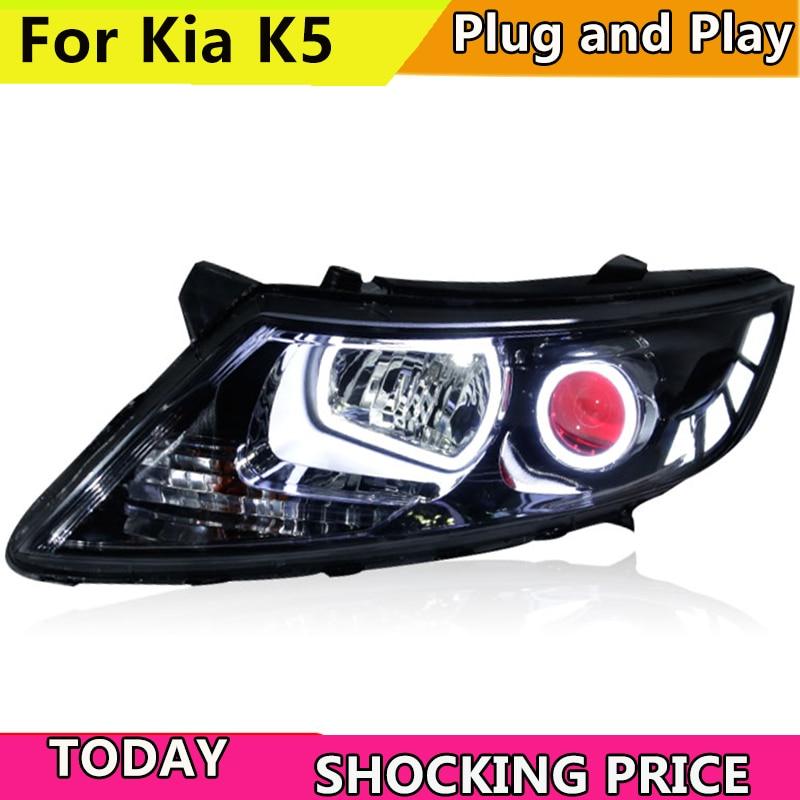 Car Styling for Kia K5 Rio Headlights 2011-2014 Korea Design K5 LED Headlight LED DRL Bi Xenon Lens High Low Beam Parking auto pro for honda fit headlights 2014 2017 models car styling led car styling xenon lens car light led bar h7 led parking