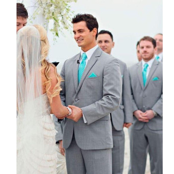 Cheap Grey Groom Tuxedos Hot Wedding Suits Two Piece Official Formal Men Suits Bridegroom Business Suit (Jacket+Pants+tie)
