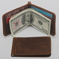 Hot Sale Fashion New Men Money Clips genuine Leather 2 folded Open Clamp For Money clutch wallets Free Shipping
