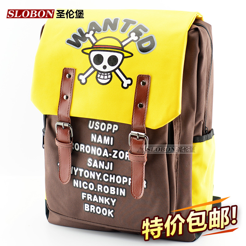 ONE PIECE Anime cosplay logo canvas Backpacks Cartoon College school bags Korean fashion leisure boy and girl Shoulders bag 2016 new fashion novelty despicable me kids cartoon backpacks children minion school bag boy girl mochilas