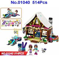01040 514pcs Models building toy Compatible with lego ciyt 41323 Girl friends Princess Snow Resort Chalet toys hobbies