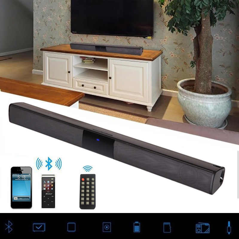 20 W Nirkabel Bluetooth Soundbar Stereo Speaker HIFI Home Theater TV Suara Bar Sistem Suara Surround AUX TF FM Radio kolom