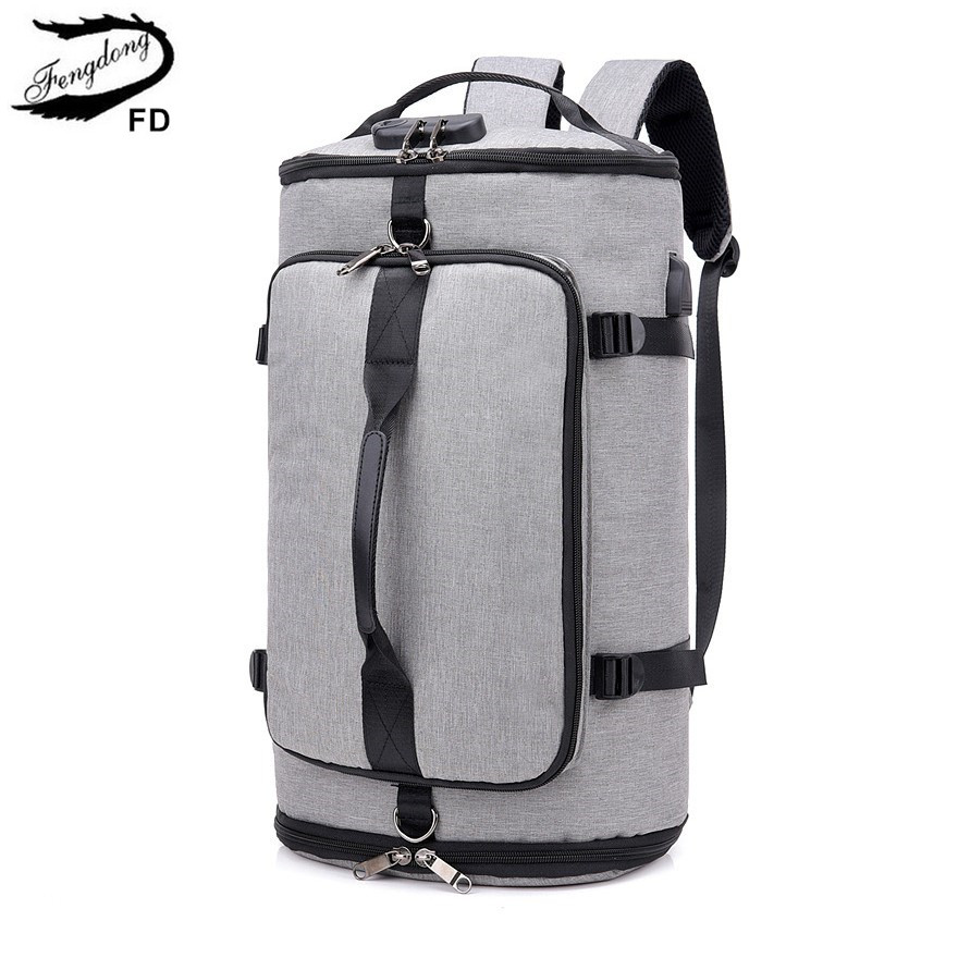FengDong Men Large Travel Backpack Anti Theft Password Lock Smart Backpack Usb Charge Male Backpacks With Luggage Belt Schoolbag