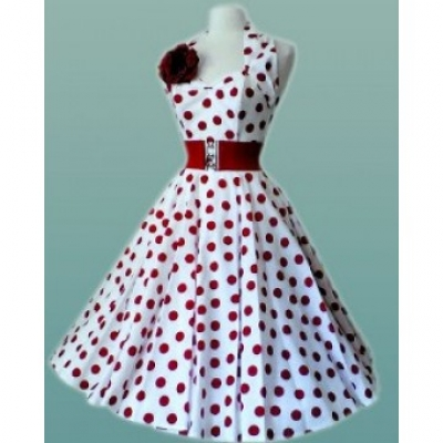 free shipping Clearance Womens Halter White with Red Dots Vintage Rockabilly Celeb Dress vestidos