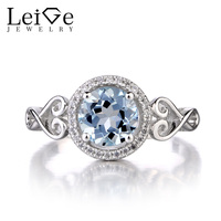 Leige Jewelry Natural Aquamarine 925 Sterling Silver Ring Round Cut Gemstone March Birthstone Engagement Wedding Rings