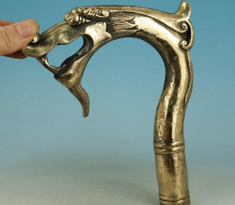 67110514 + + + grand chinois vieux laiton sculpté à la main Dragon recueillir Statue bâton de marche tête