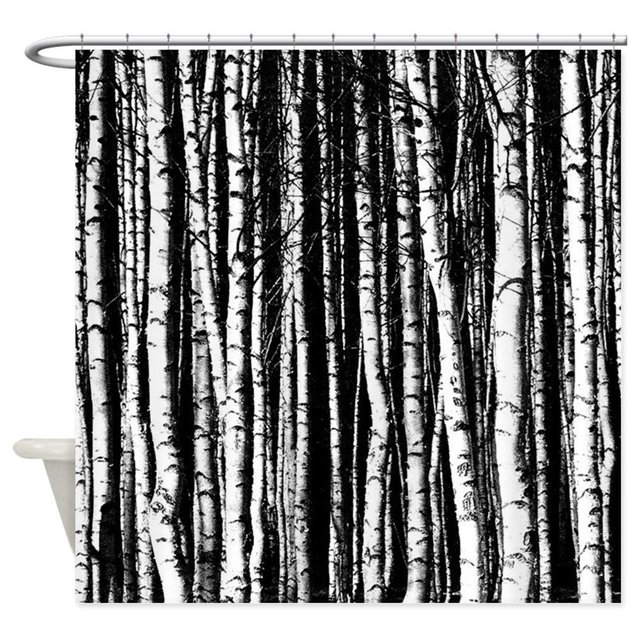 Black And White Birch Trees Shower Curtain Mat Decorative Waterproof