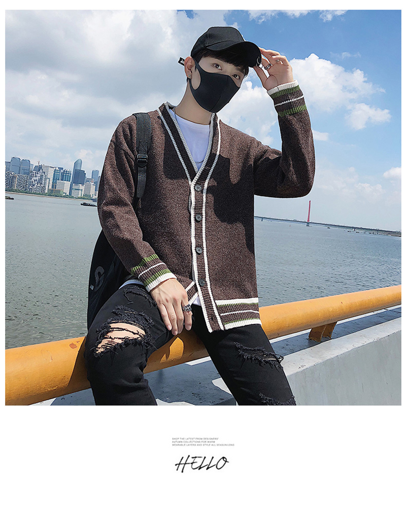 Check Button Cardigan Male Oversize Loose Streetwear (22)