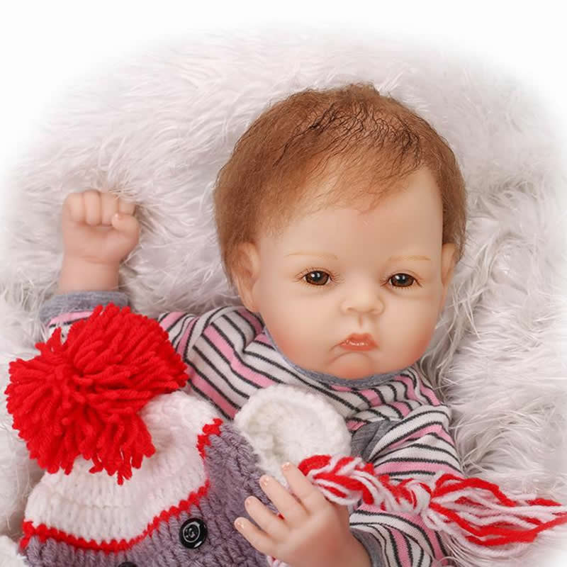 Brown Eyes 20 Inch Reborn Silicone Baby Doll Handmade Realistic Girl Babies With Lovely Clothes Kids Birthday Xmas Gift