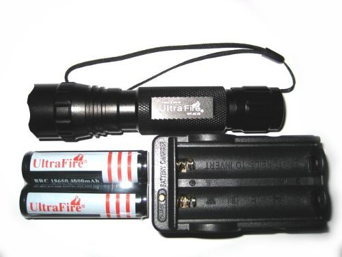 2 batteries /& charger Rechargeable Flashlight with CREE XM-L T6 1000 Lumens LED