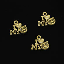 120 pcs Zinc Alloy Charms Antique Bronze Plated i love my cat Charms for Jewelry Making DIY Handmade Pendants 17mm(China)