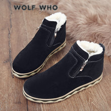 WOLF WHO 2018 Men Winter Warm Boots Casual Shoes Male Sneakers Fashion Plush Snow Boots Ankle Boots Fur Suede Man Footwear X-179(China)