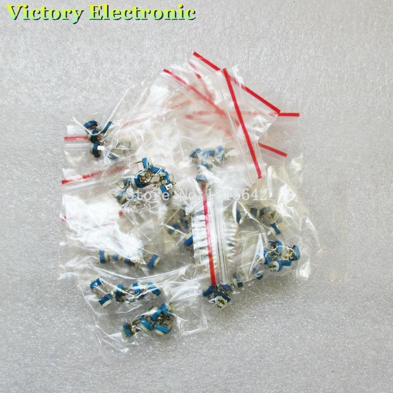 Ořezávací potenciometr RM-065 Horní nastavení 100R-1M RM065 WH06-2 Variabilní rezistory různé sady 13Type * 5 ks. = 65 ks.