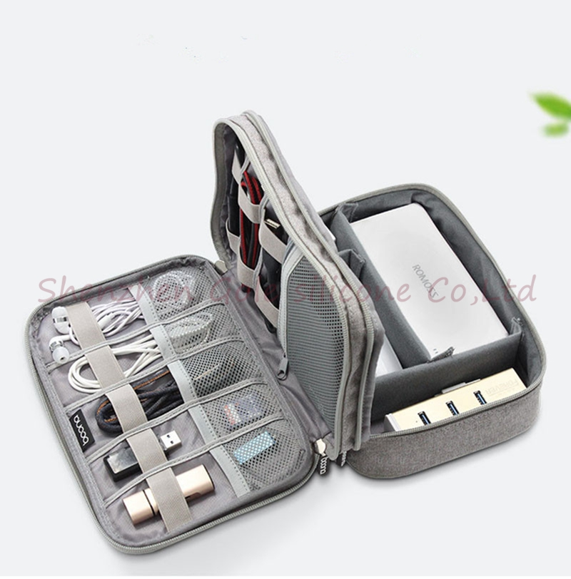 Electronic Accessories Cable Organizer Bag Portable Case SD Cards Flash Drives Wires Earphones Double Layer Storage Box  20pcs