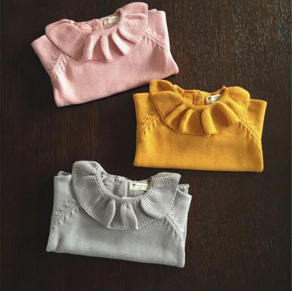 1-5Y Girls Sweater Baby Lotus Leaf Collar Cute Child Baby Primer Shirt Knitted Girl Sweaters For Kids Girl Clothing AS-1591-3