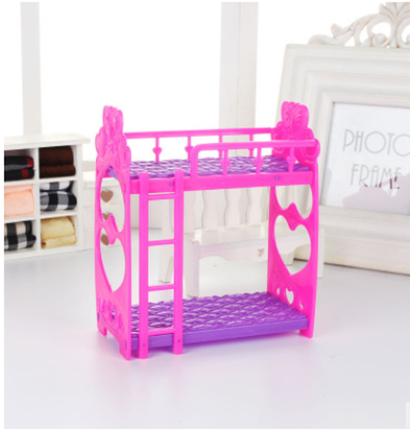 Plastic Miniature Double Bed Toy Furniture for Dollhouse Mini Doll Dream Closet Playing House Toys Decor Toys Gifts
