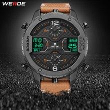 718c76bb94e6 WEIDE hombres deportes reloj analógico manos calendario Digital de cuarzo  marrón correa de cuero reloj de pulsera hombre 2019 mi.