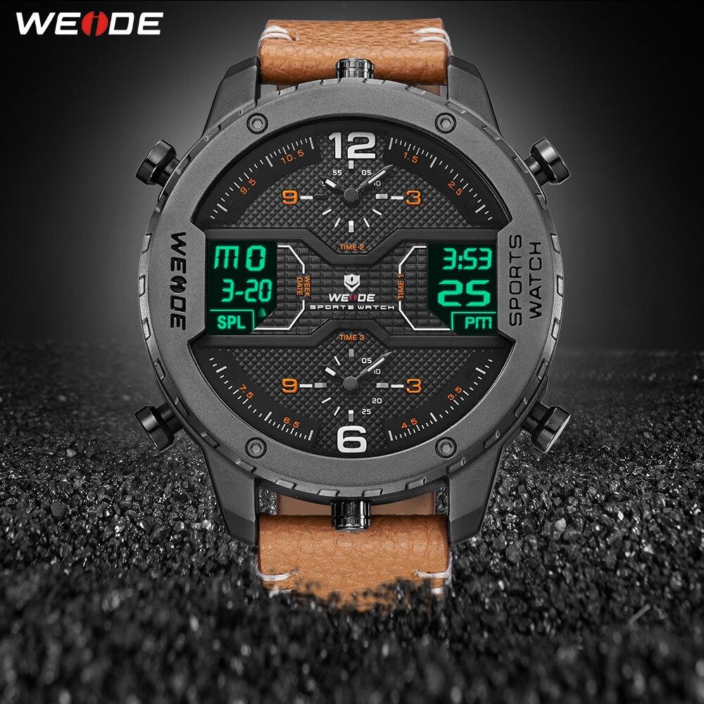 WEIDE montre de sport pour hommes mains analogiques calendrier numérique Quartz marron bracelet en cuir montres reloj hombre 2019 horloge militaire
