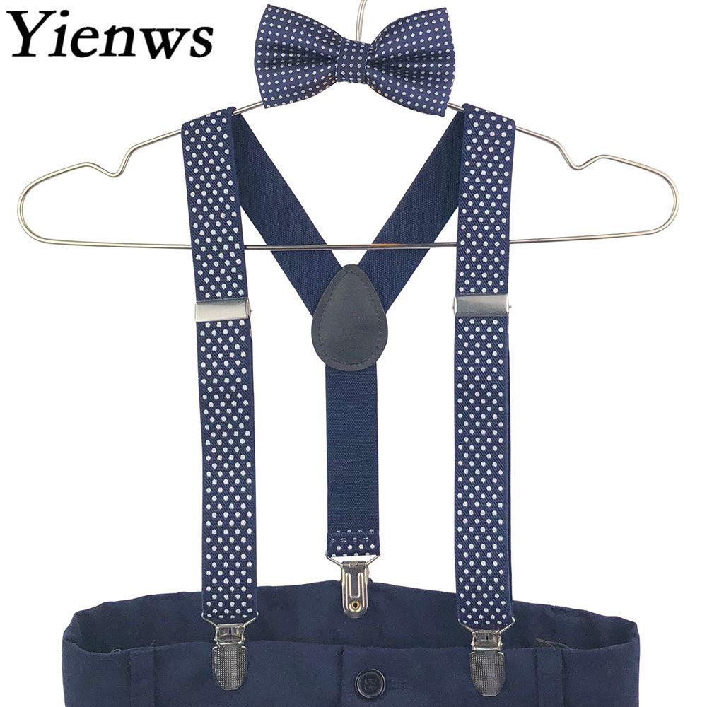 Yienws Boys Baby Suspenders Bow Tie Set Navy Dot Bowtie Braces Kids Wedding Bow Tie Elastic Suspenders Children YiA111