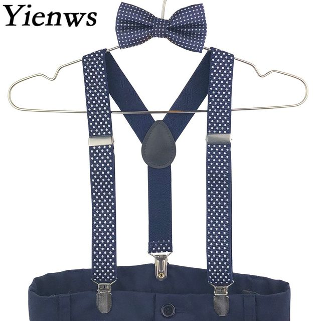 e13ae6e49 Yienws Boys Baby Suspenders Bow Tie Set Navy Dot Bowtie Braces Kids Wedding Bow  Tie Elastic Suspenders Children YiA111
