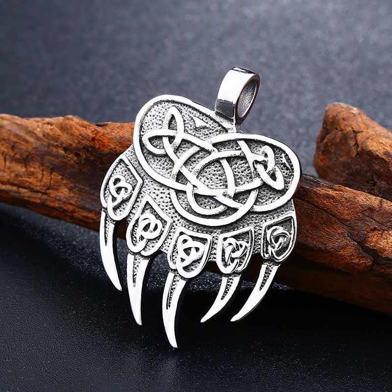 Beier الفولاذ المقاوم للصدأ تميمة فايكنغ السلافية الله رمز Warding Veles الدب باو مع محظوظ عقدة قلادة قلادة مجوهرات LLBP8-291R