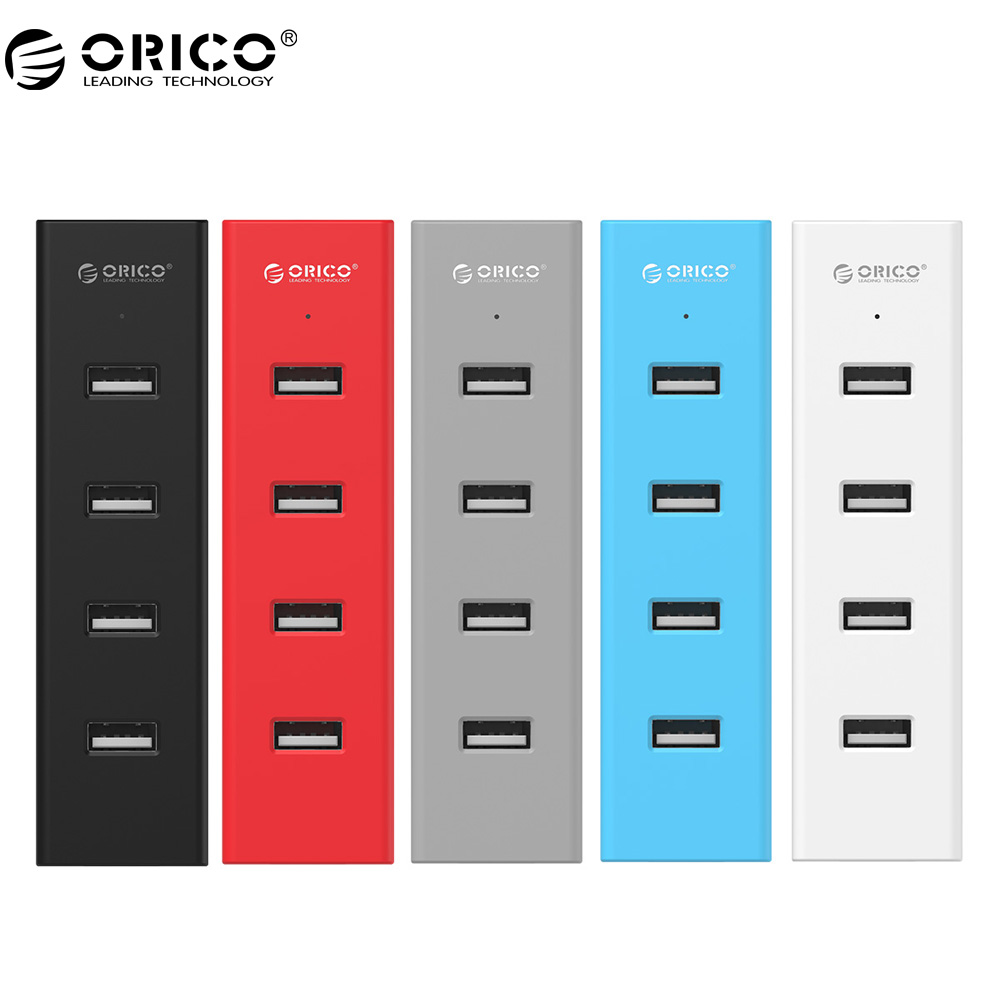 ORICO H4013-U2 High Speed USB 2.0 HUB 4 Ports USB Portable with Data Cable & Power Adapter Port- Black/Gray/Blue/Red