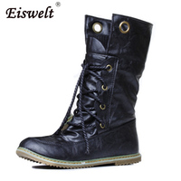EISWELT Women Mid Calf Boots Winter Snow Boots Warm Round Toe Flat Shoes Female Fashion Lace