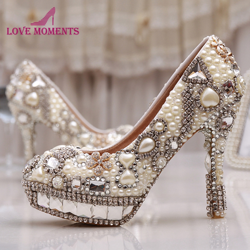 Nightclub Party Wedding Shoes Rhinestone Platform High Heels Diamond Bridal Pumps Women Ivory Pearl Prom Shoes Size 33-43 size 35 43 women high heel shoes wedding bridal flower platform heeled lady pumps fashion diamond heels shoes eur d5614