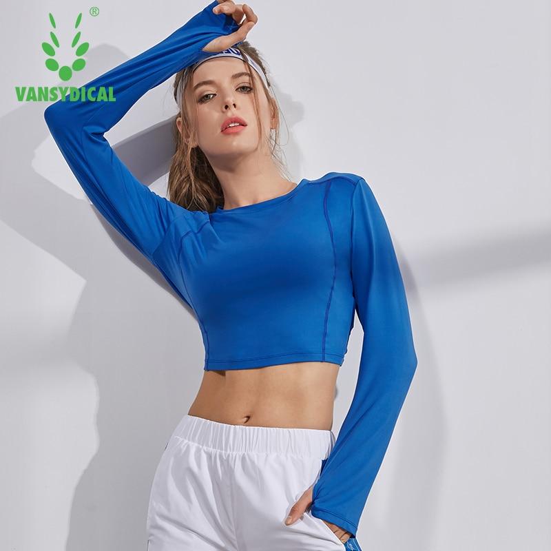 Sexy Exposed Navel Training Shirt Women Long Sleeve Fitness Crop Top Thumb Hole Gym Running Jogging Sport Shirts Sportswear