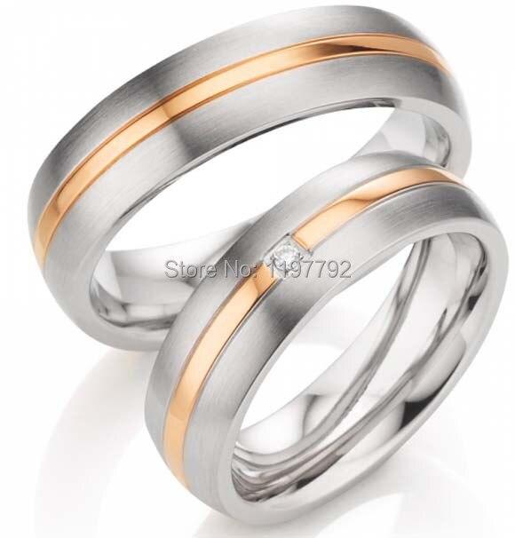 2014 pas cher personnalisé sur mesure vogue bijoux or rose couleur titanium bague de fiançailles de mariage ensembles