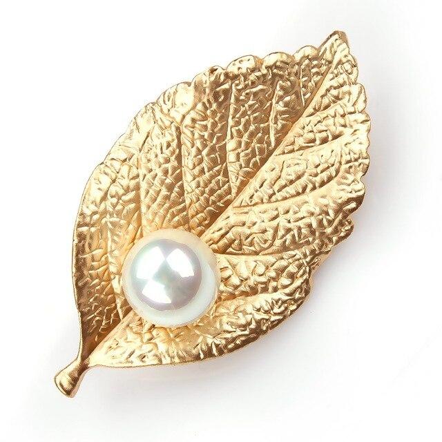 baiduqiandu Matt Silver or Gold Color Leaf and Imitation Pearl Classic Brooch Pi