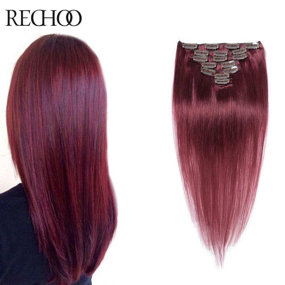 Aliexpress Buy 99j 7 Piece Remi Human Hair Clip On Extensions