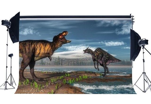 Dinozaur tło okres jurajski zielona trawa mały parowiec pasażerski niebo białe chmury Cartoon Fairytale fotografia tło