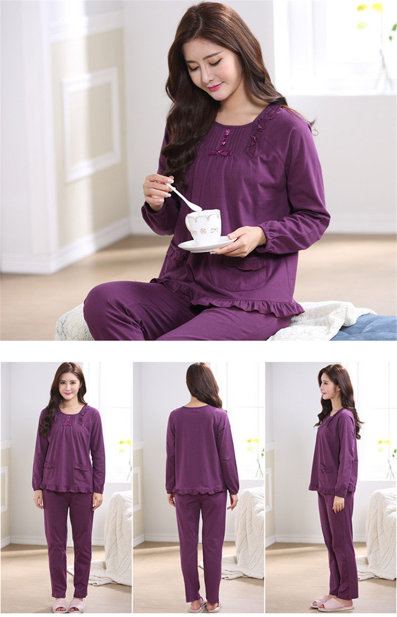 Pajamas For Women's Sleepwear Cardigan Cotton Spring And Autumn Pajama Set Women Lounge Pyjamas M-4XL SY479