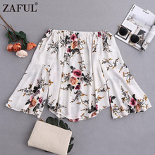 Off-shoulder Chiffon White Print Casual Flare Sleeve Blouse