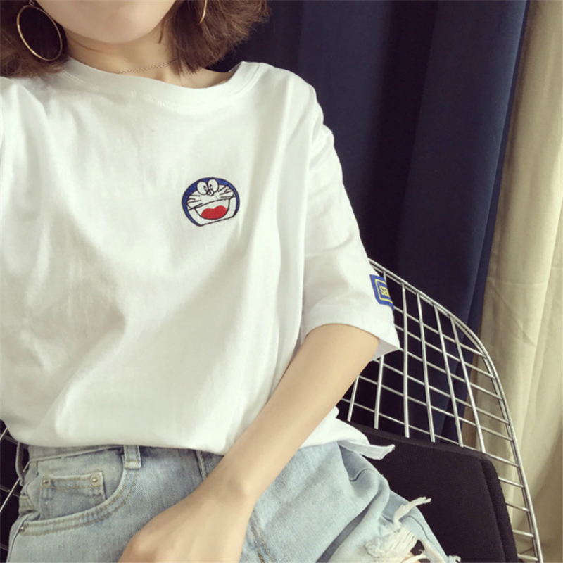 2017 High-quality Women Causal Merry Pretty T-Shirt Women T-shirts Tee Kawaii Cat Embroidery Cotton Tops Shirt Doraemon
