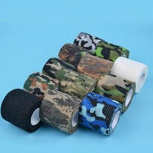 Image 2 - 4.5 センチメートル * 5 メートル狩猟テープ迷彩ステルスキャンプハント撮影ツールシリーズの防水不織布テープ混合粘着迷彩タップ