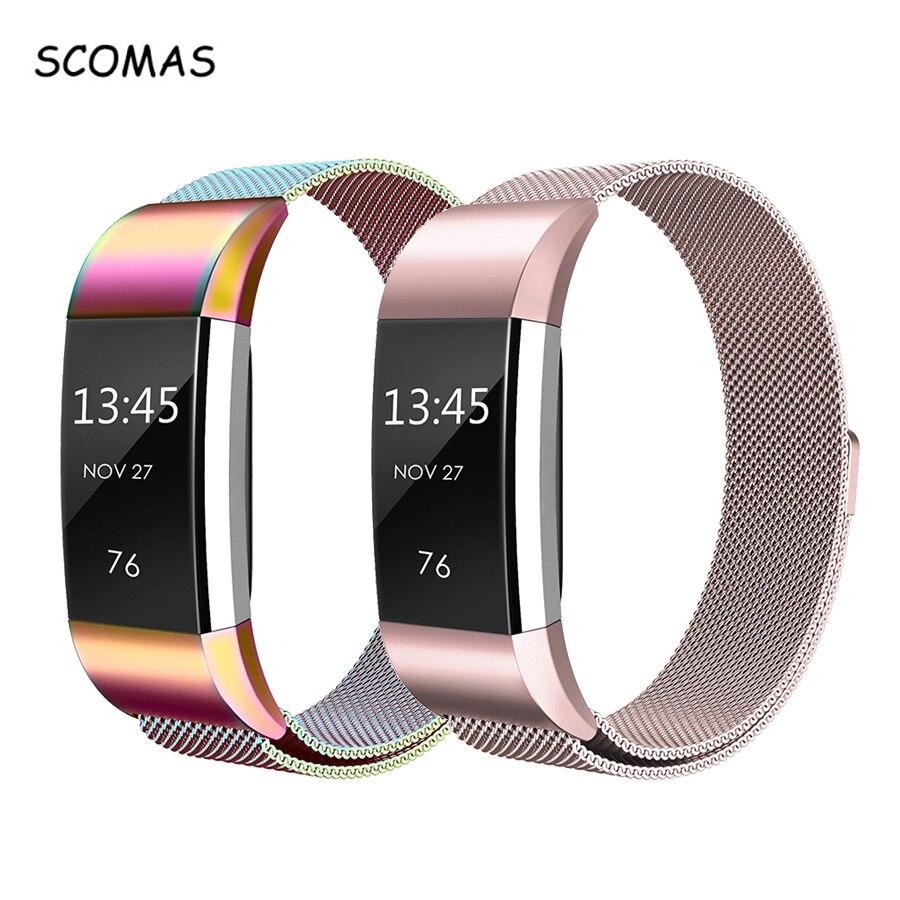 SCOMAS magnético Milanese correa de acero inoxidable para Fitbit carga 2 para carga 2 smart wristband pulsera charge2