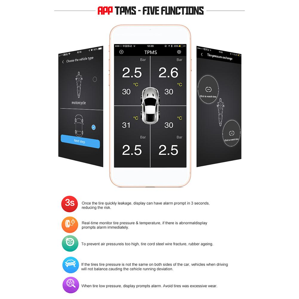 Motorcycle Tire Pressure Monitoring System Bluetooth Wireless Tire Alarm Security Monitor IOS Android APP Control 12V Car TPMS in Tire Pressure Alarm from Automobiles Motorcycles