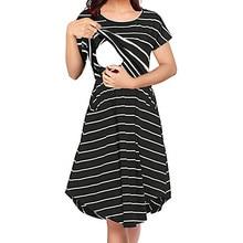 MUQGEW Womens Maternity Nursing Dress for Breastfeeding Short Sleeve Stripe Summer Knee Length Maternity Breastfeeding Dresses