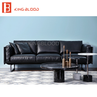 Top Grain Brown Color Nappa Leather 3 Seater Sectional Sofa Couch
