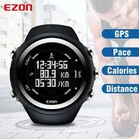 Ezon T031 GPS Бег спортивные часы расстояние Скорость калорий Мониторы GPS синхронизации Для мужчин спортивные часы 50 м Водонепроницаемый цифровы