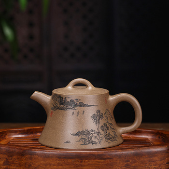 Ore Dark-red Enameled Pottery Teapot Manual Make Grey Lime Section Mud Landscape Well Pot Tea Set Customized Generation Hair
